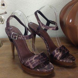 Gianni Bini Leopard Print Satin Platform Sandals